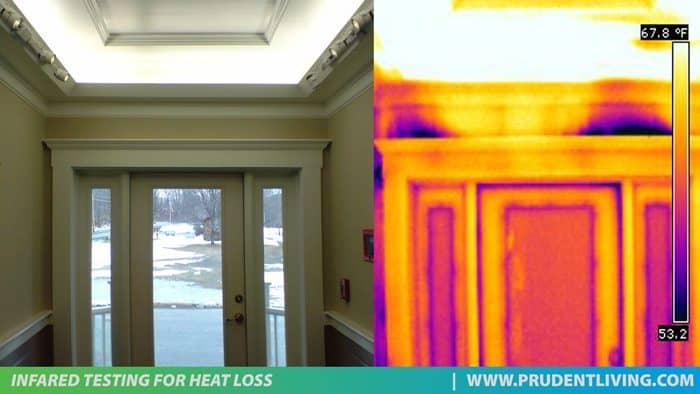 door heat loss infrared photo